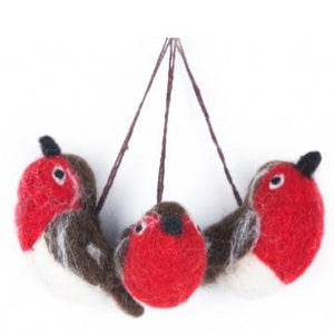 Baby Red Robins Bag of 3 Felt Christmas Tree Decorations - ad&i