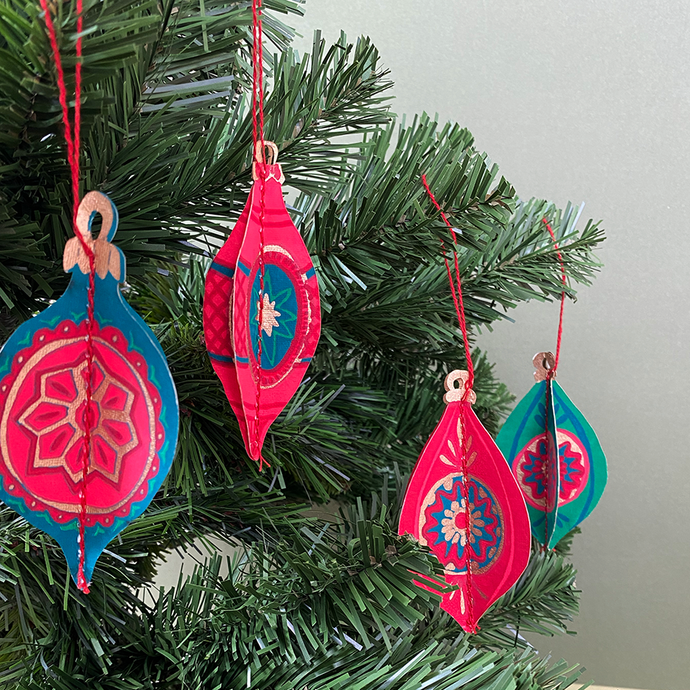 Pack of Four Recycled Paper Christmas Bauble Decorations