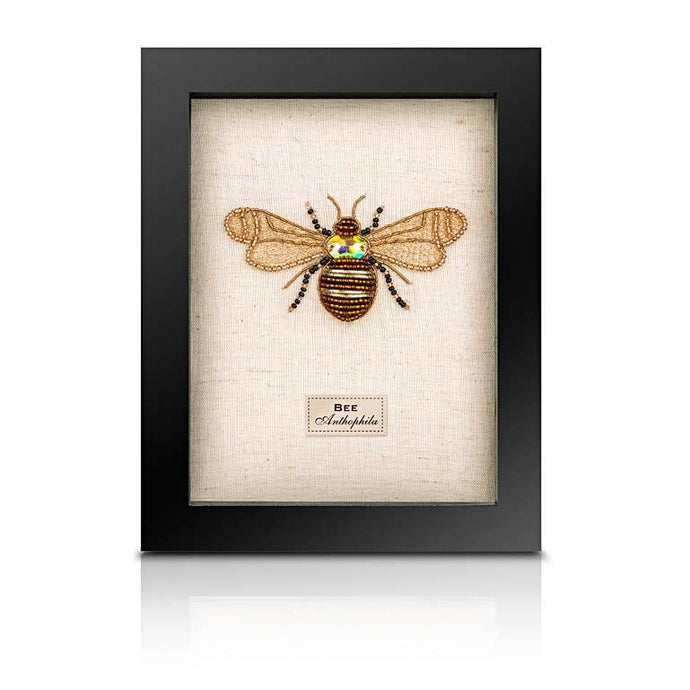 Framed Embroidered and Beaded Bee