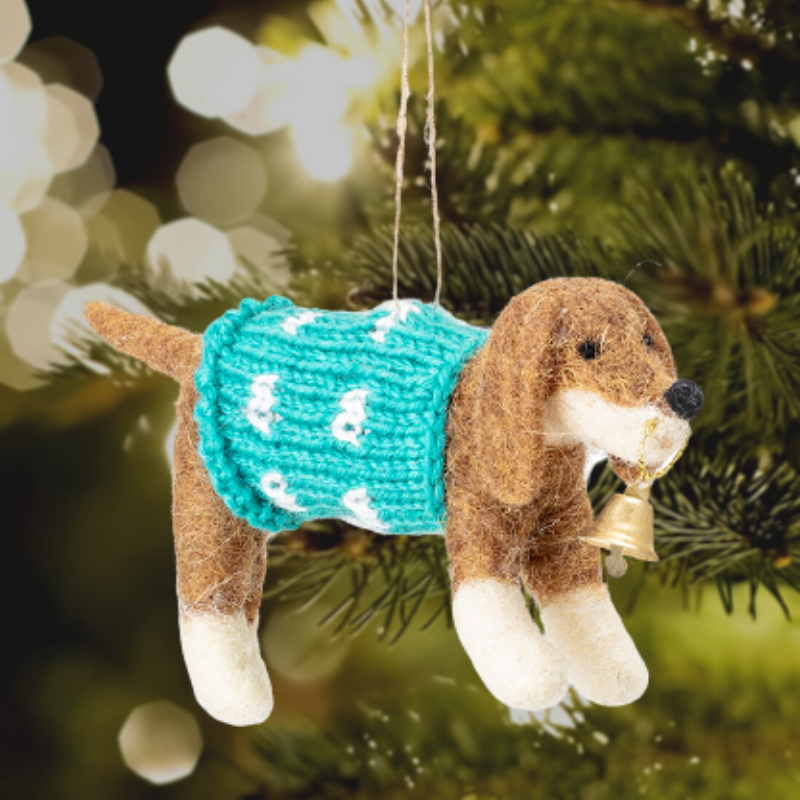 Dog in a Christmas Jumper Tree Decoration