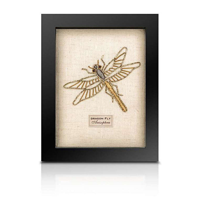 Framed Embroidered and Beaded Dragonfly
