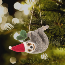 Load image into Gallery viewer, Simon the Sloth Felt Christmas Tree Decoration