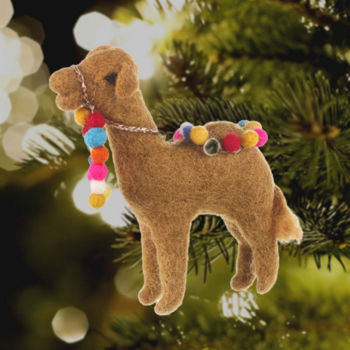 Carla the Camel Felt Christmas Tree Decoration