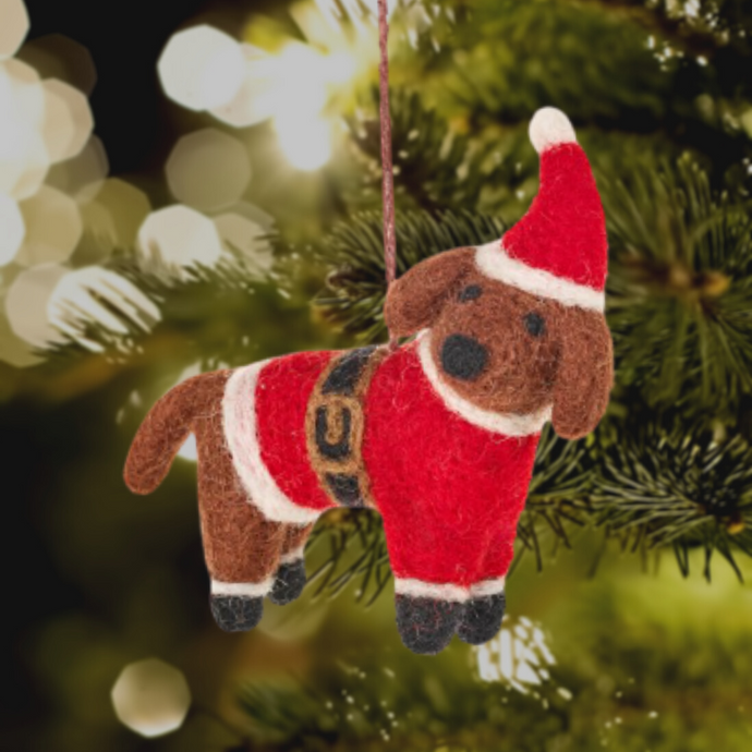 Buddy the Festive Dog Felt Christmas Tree Decoration