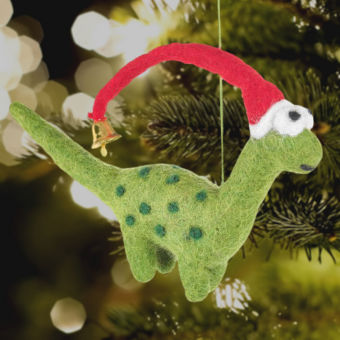 Lanky the Dinosaur Felt Christmas Tree Decoration