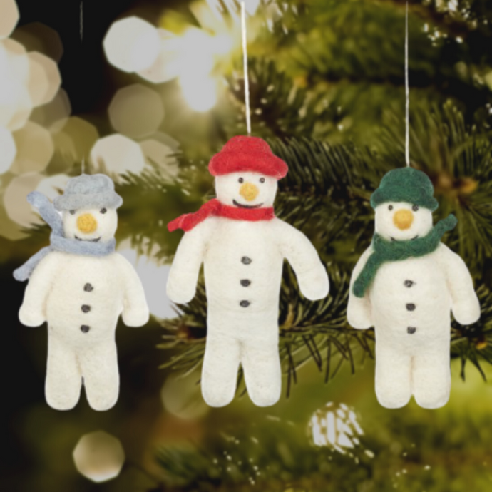 Mr Snowman Felt Christmas Tree Decoration