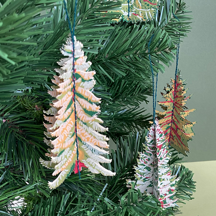Pack of Four Forest Tree Paper Decorations