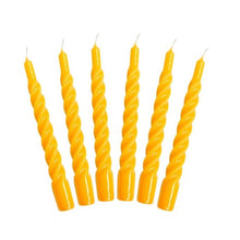 Load image into Gallery viewer, One Colour Twisted Taper Candles Set of Six - Yellow