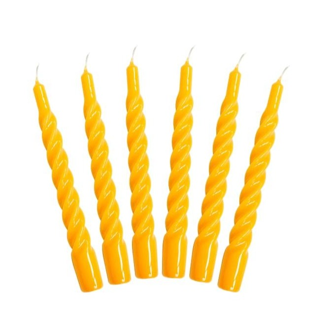 One Colour Twisted Taper Candles Set of Six - Yellow