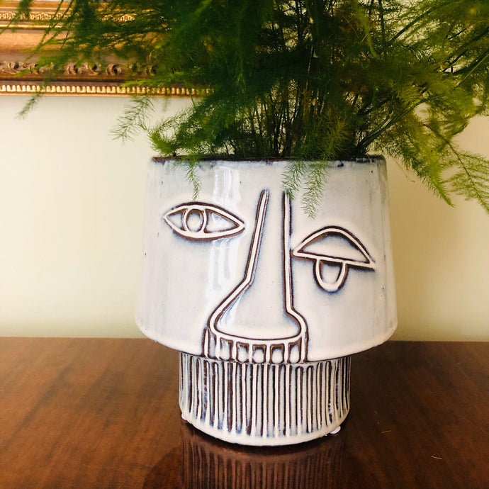 Grey Stoneware Abstract Face Planter - ad&i