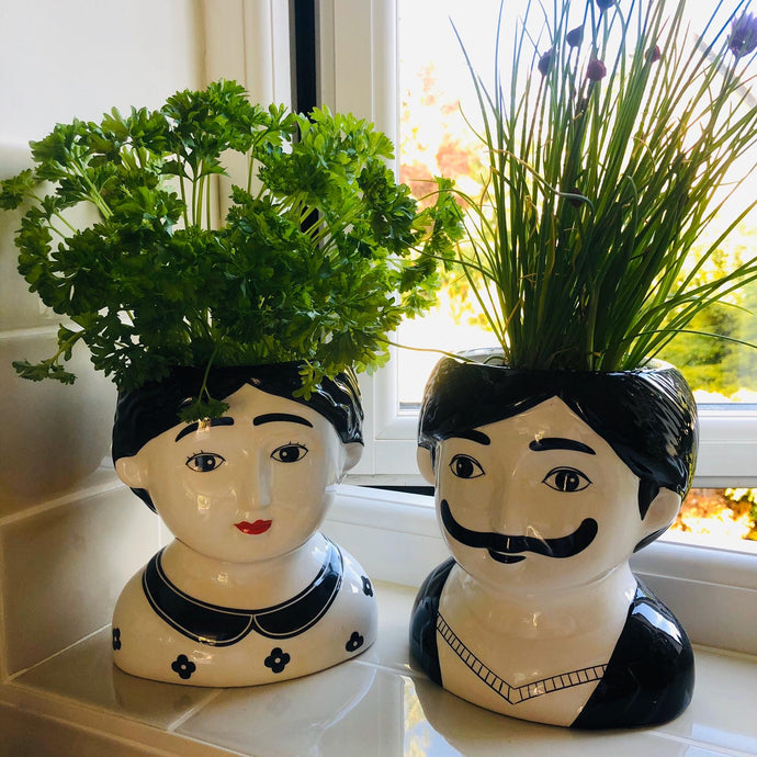 Man and Woman Couple Ceramic Large Plant Pots Set of Two - ad&i