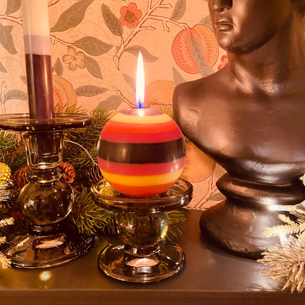 Orange Flame, Neyron Rose, Sulphur Yellow and Jet Black Small Stripe Ball Candle