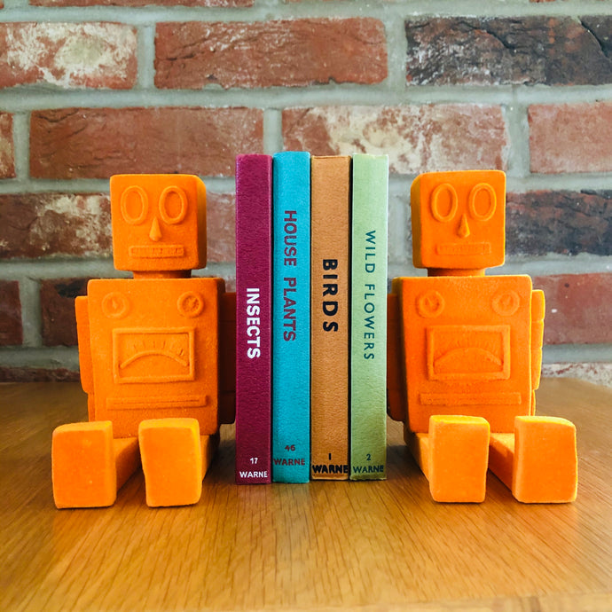 Orange Flock Robot Bookends - ad&i