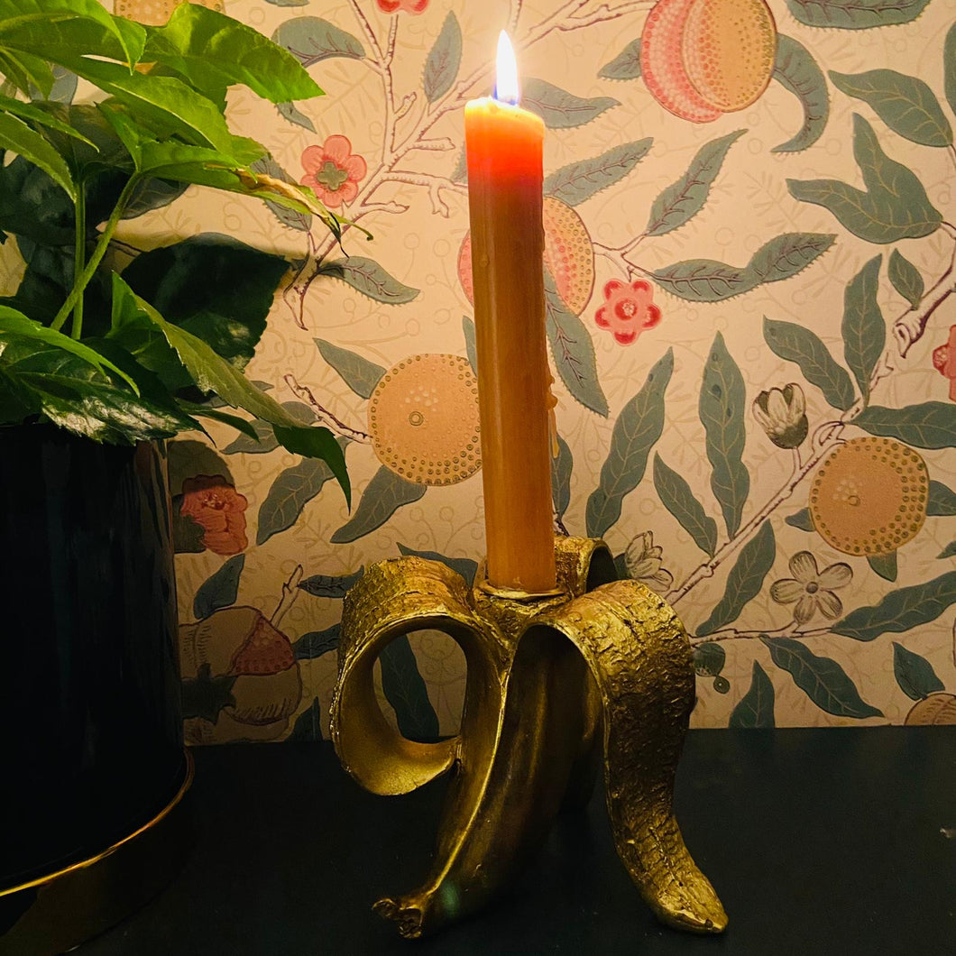 Gold Peeled Banana Candlestick Holder