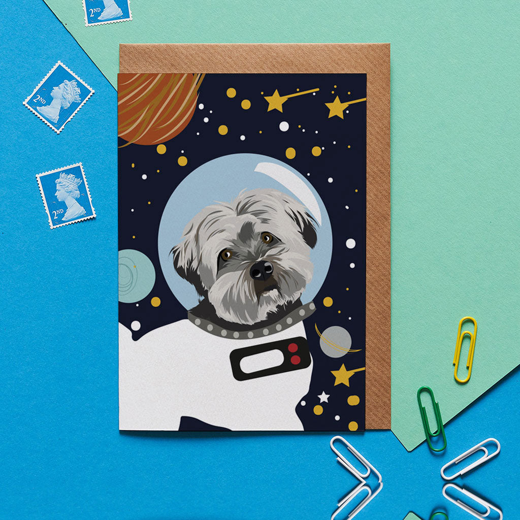 Jenkins the Havanese Astro Space Dog Greeting Card - ad&i