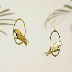 Brass Bird Mobile Plant Decoration