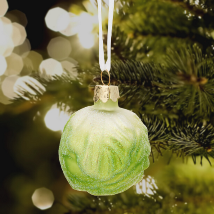 Brussel Sprout Glitter Shaped Christmas Tree Bauble