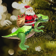 Load image into Gallery viewer, Dinosaur and Santa Shaped Christmas Tree Decoration