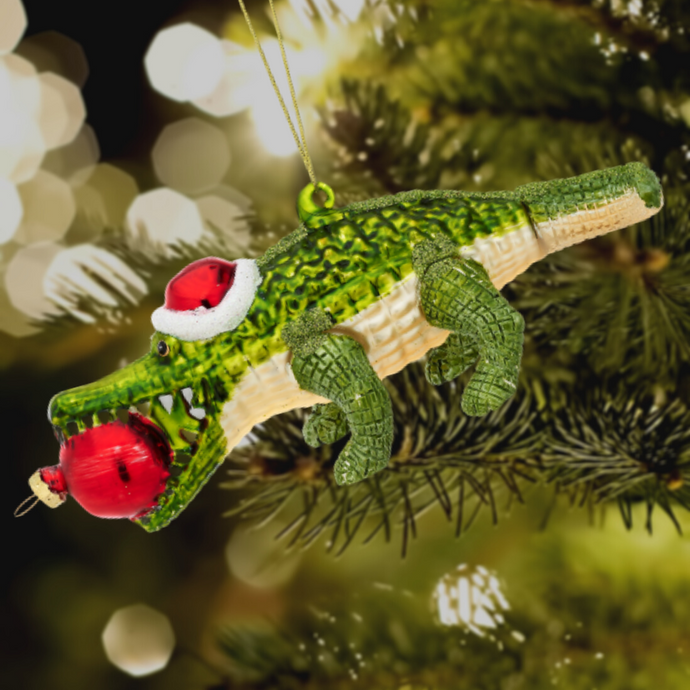 Alligator Shaped Christmas Tree Bauble - ad&i