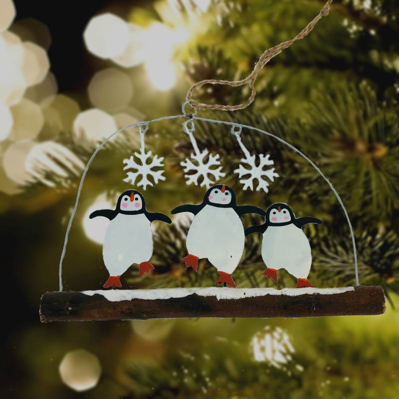 Dancing Penguins on a Twig Christmas Decoration - ad&i