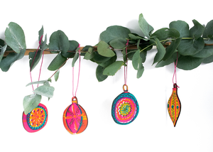 Pack of Four Screen Printed Christmas Bauble Decorations