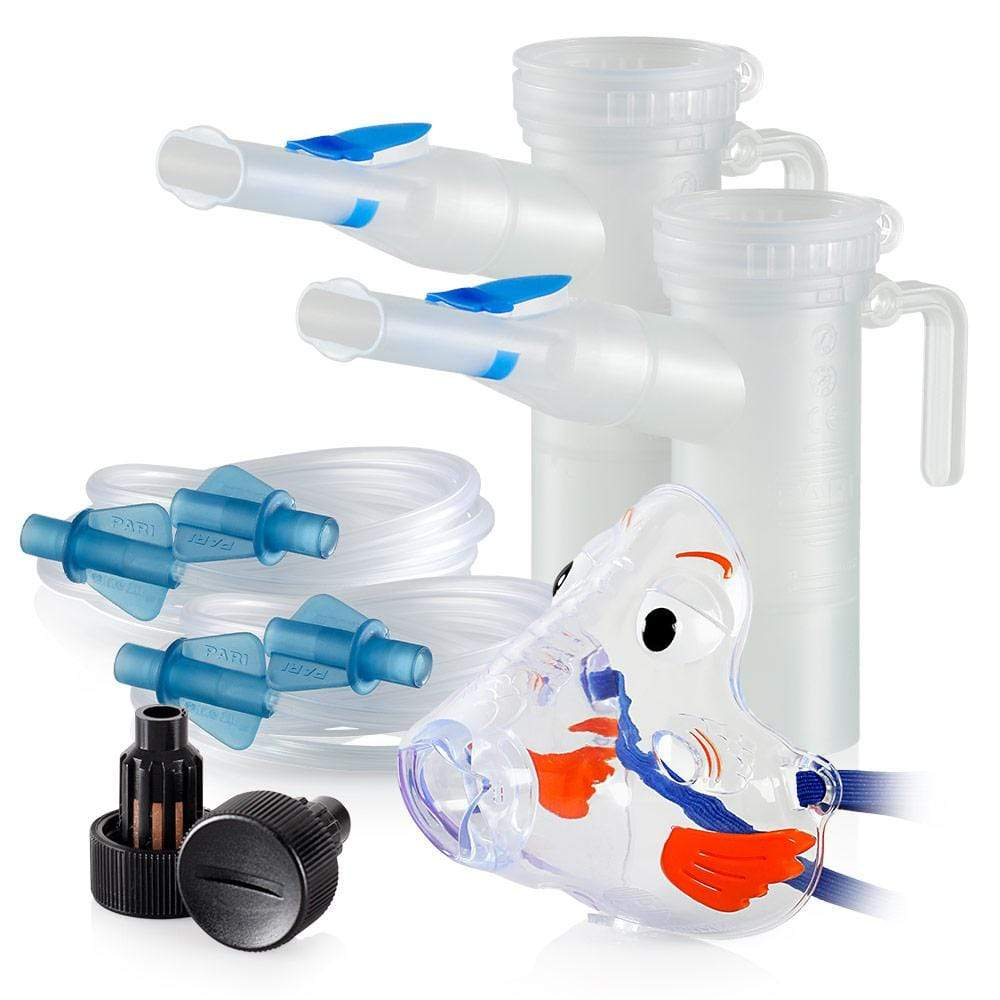 Replacement Supply Kit: One Year of Nebulizer Supplies PARI ProNeb / PARI LC Plus with WingTip Tubing / Add 1x PARI Bubbles Pediatric Mask. 1x041F64P2-2x022F81-1x044F7248