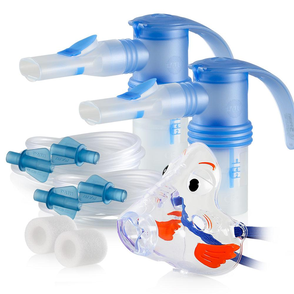 Replacement Supply Kit: One Year of Nebulizer Supplies PARI Vios or Vios 'Go Green' / PARI LC Sprint with WingTip Tubing / Add 1x PARI Bubbles Pediatric Mask. 1x041F4851P2-2x023F35-1x044F7248