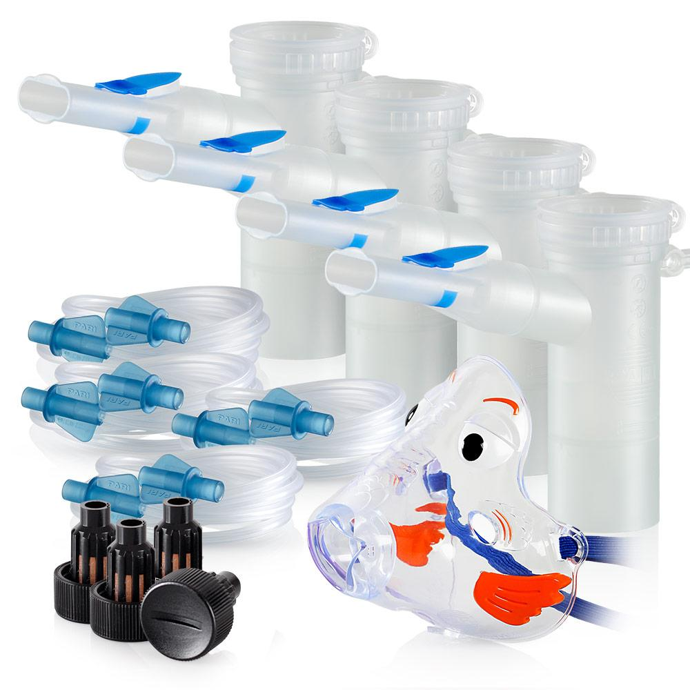 Replacement Supply Kit: Two Years of Nebulizer Supplies PARI ProNeb / PARI LC Plus with WingTip Tubing / Add 1x PARI Bubbles Pediatric Mask. 2x041F64P2-4x022F81-1x044F7248