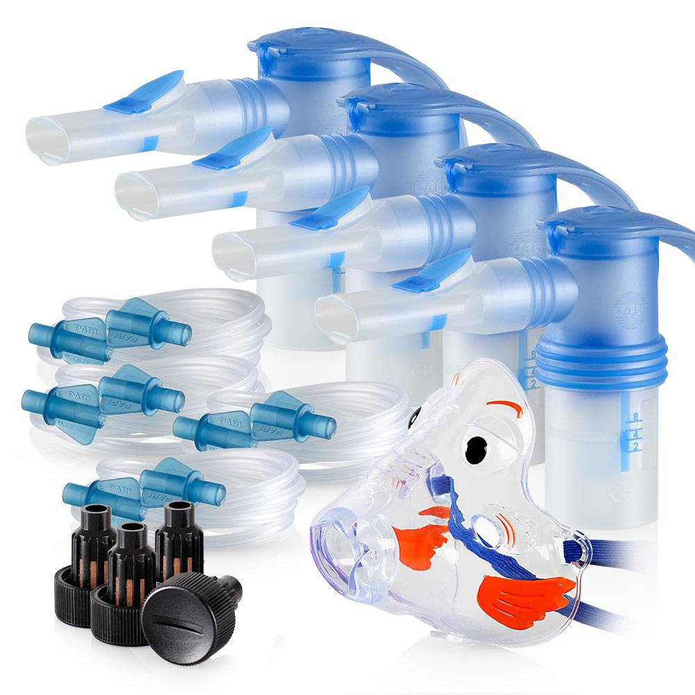 Replacement Supply Kit: Two Years of Nebulizer Supplies PARI ProNeb / PARI LC Sprint with WingTip Tubing / Add 1x PARI Bubbles Pediatric Mask. 2x041F64P2-4x023F35-1x044F7248