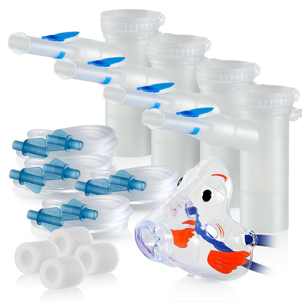 Replacement Supply Kit: Two Years of Nebulizer Supplies PARI Vios or Vios 'Go Green' / PARI LC Plus with WingTip Tubing / Add 1x PARI Bubbles Pediatric Mask. 2x041F4851P2-4x022F81-1x044F7248