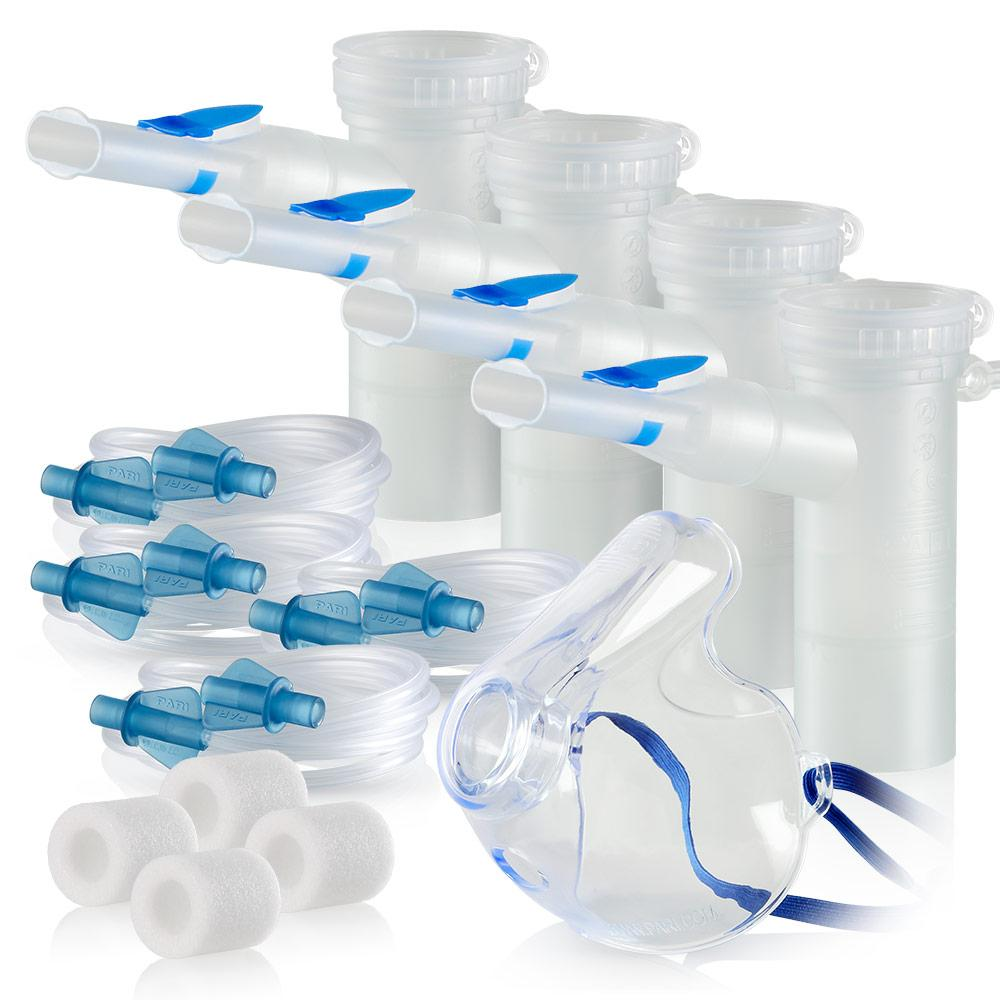 Replacement Supply Kit: Two Years of Nebulizer Supplies PARI Vios or Vios 'Go Green' / PARI LC Plus with WingTip Tubing / Add 1x PARI LC Plus Adult Mask. 2x041F4851P2-4x022F81-1x044F7252