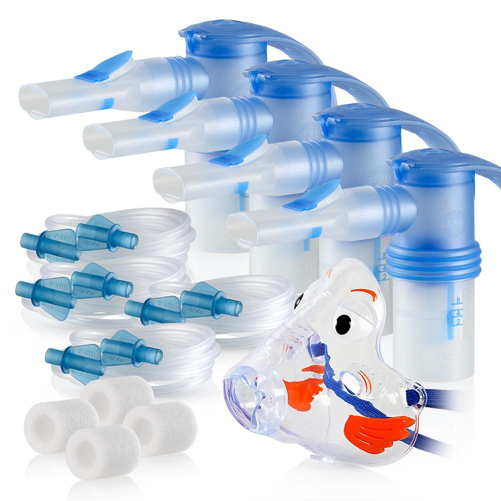 Replacement Supply Kit: Two Years of Nebulizer Supplies PARI Vios or Vios 'Go Green' / PARI LC Sprint with WingTip Tubing / Add 1x PARI Bubbles Pediatric Mask. 2x041F4851P2-4x023F35-1x044F7248
