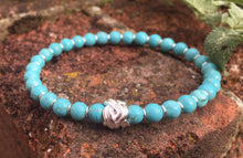 Load image into Gallery viewer, Turquoise & sterling silver knot bracelet, turquoise jewellery, silver jewelery, December birthday, beaded bracelet