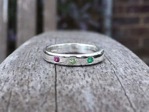 Birthstone ring, handmade, sterling silver, Mother's Day, birthday, anniversary, gemstones