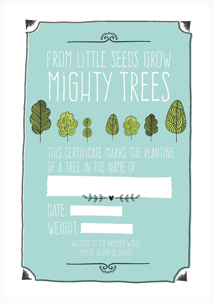 One tree planted certificate