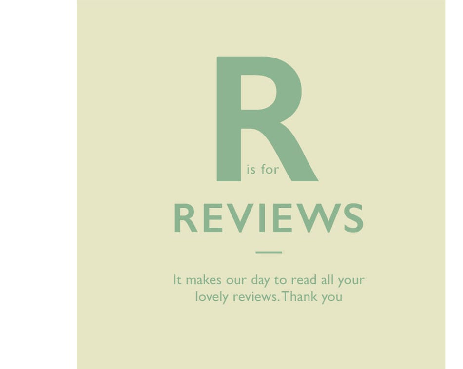 R is for Reviews. It makes our day to read all your lovely reviews. Thank you