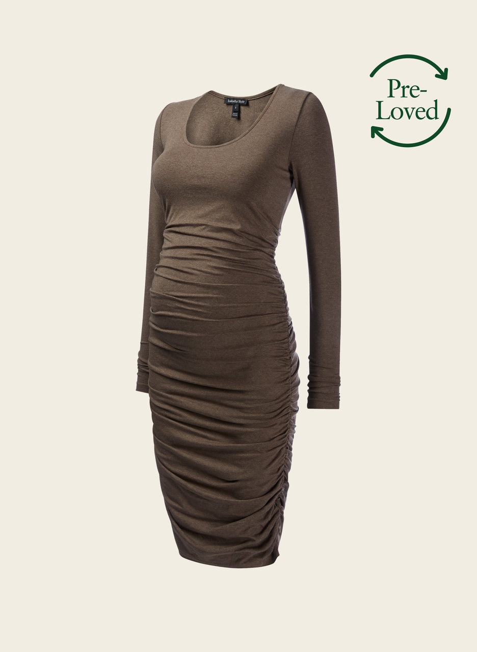 Pre-Loved Ruched Midi Maternity Dress by Isabella Oliver