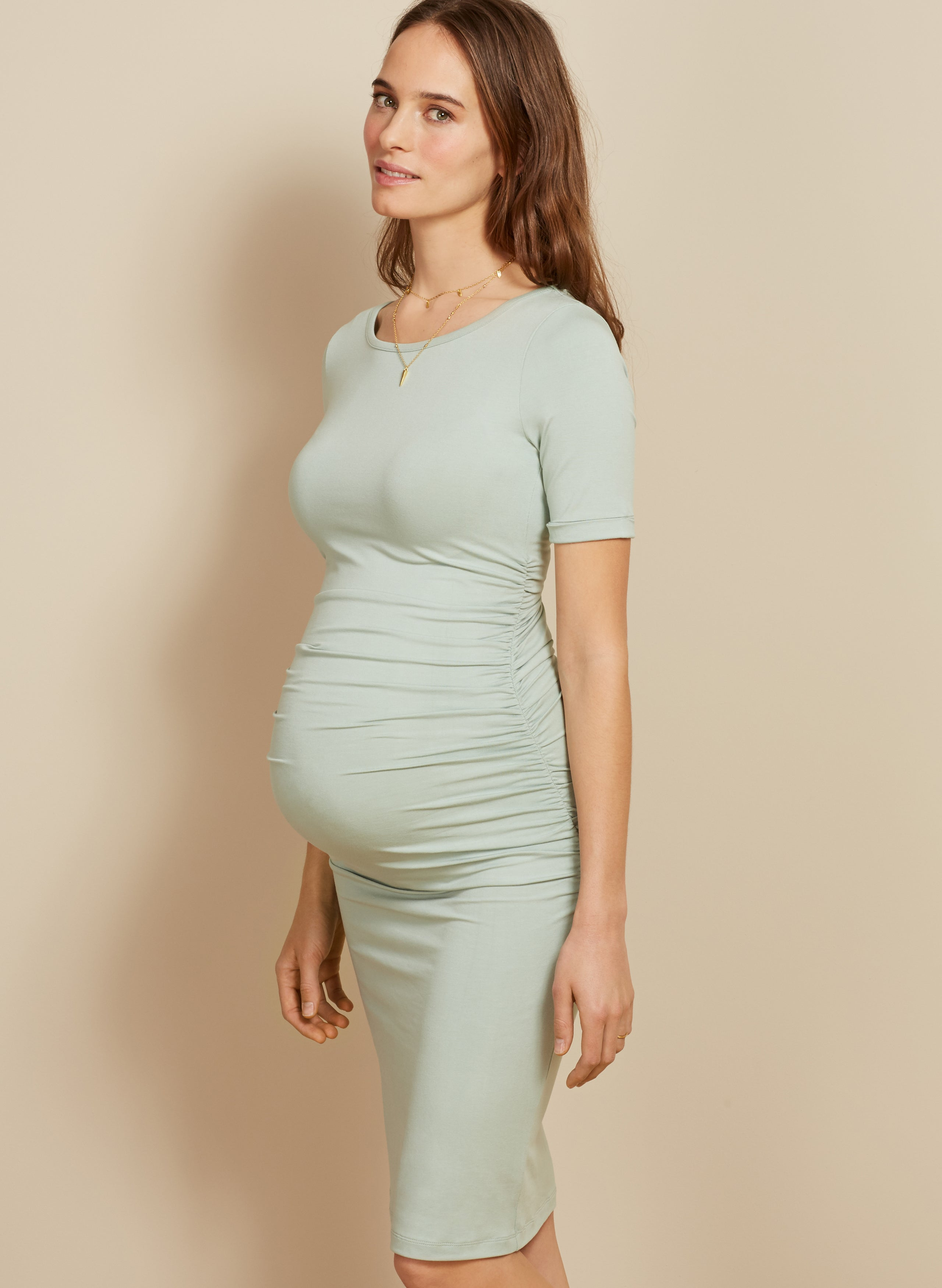 Ruched T Shirt Maternity Dress