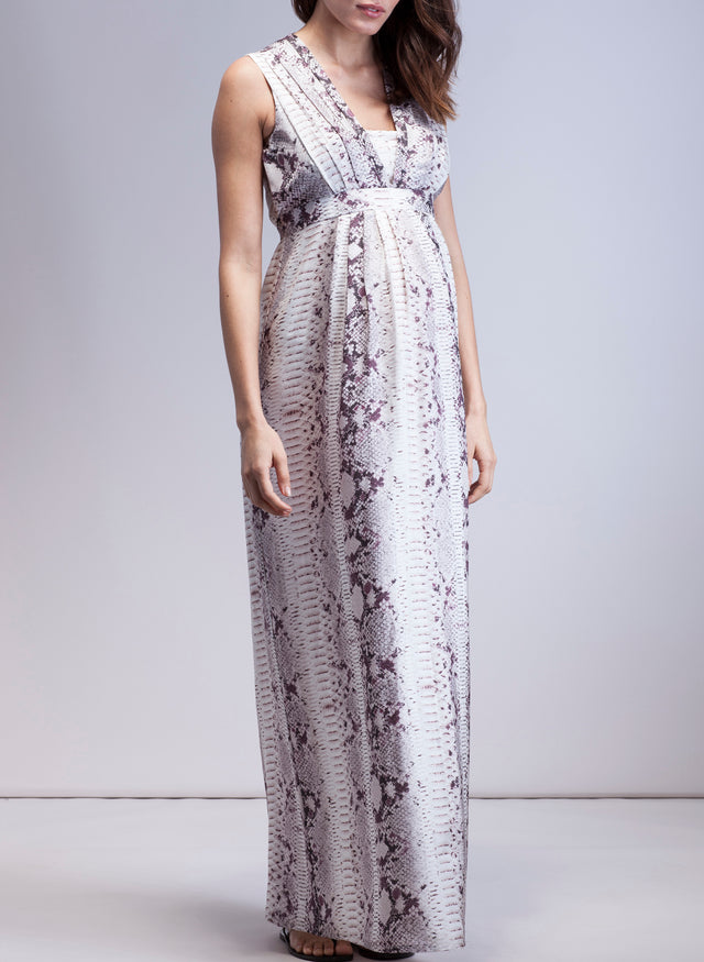 Zahara Silk Maternity Maxi Dress