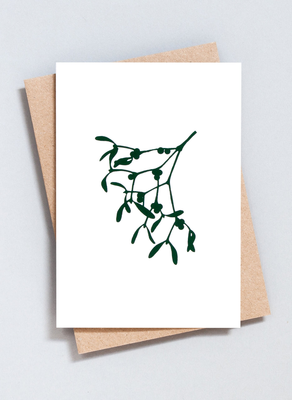 Ola Festive Foil Blocked Mistletoe Print Card