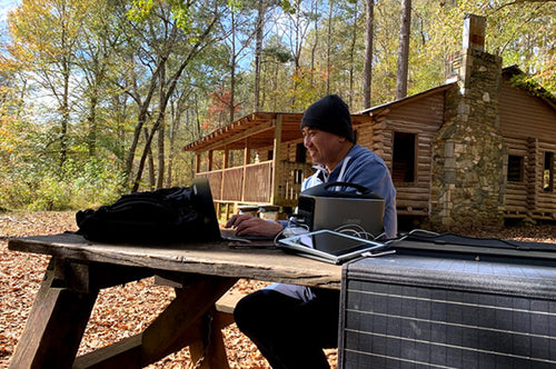 image of man charging multiple electronic devices outside a wooden cabin with the H740 Pro power station