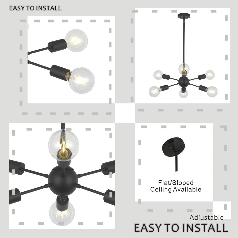 VINLUZ Modern Pendant Lighting 6 Lights Black Starburst Sputnik Chandelier