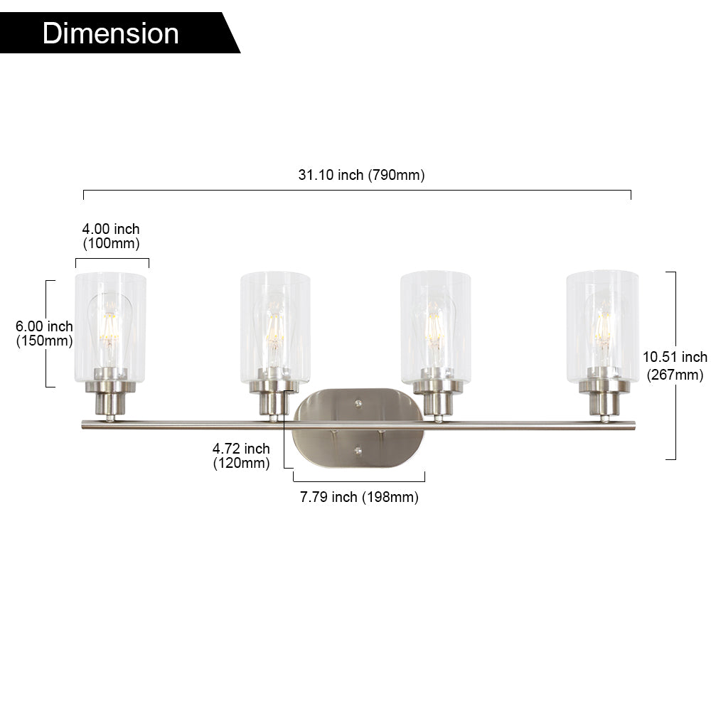 4 Light VINLUZ Wall Sconce Contemporary Stylish Bathroom Vanity Lighting