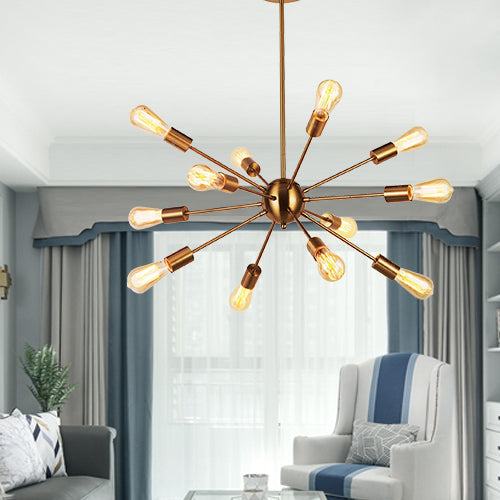 VINLUZ Modern Pendant Lighting 12 Lights Brushed Brass Starburst