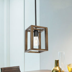 VINLUZ 1-Light Wood Pendant Lighting Rustic Style Black Walnut Natural Wooden Frame