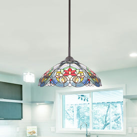 VINLUZ Tiffany Glass Chandeliers Lighting 16-inch Shade Multi-Colored 3-Lights