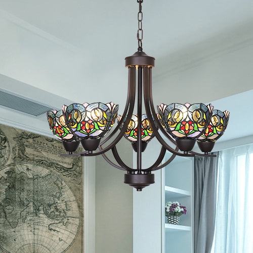 VINLUZ 5 Light Chandeliers Tiffany Style 7.5-inch Stained Glass Shaded, Oil Rubbed Bronze