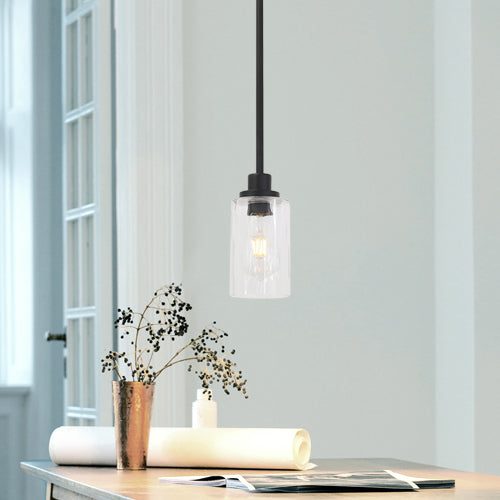 VINLUZ 1 Light Black Island Light Clear Cylinder Glass
