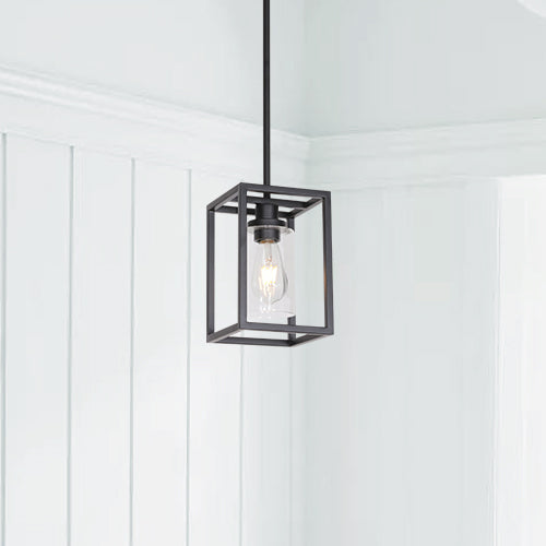 VINLUZ 1 Light Classic Farmhouse Glass Pendant Lighting Black