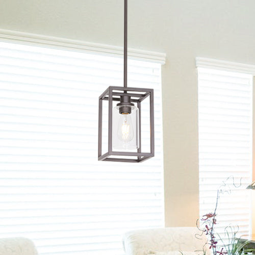 VINLUZ Single Modern Glass Pendant Light Metal Classic Oil Rubbed Bronze